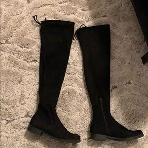 Over the knee black suede like material boots